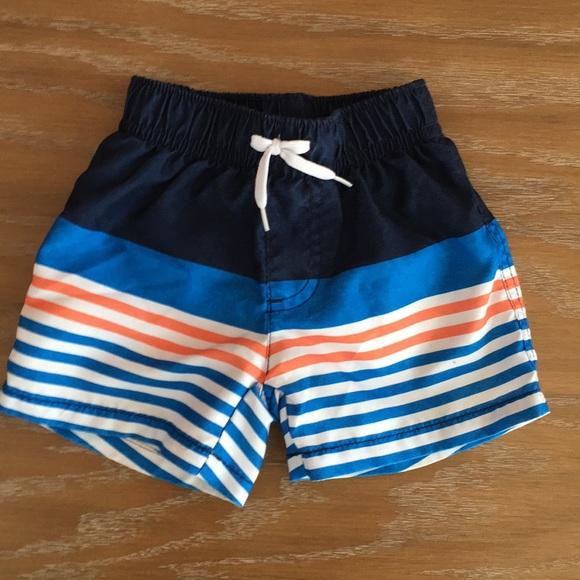 GYMBOREE NWT Baby Boy 12-18mos blue swim trunks fish rashguard top 2 pcs